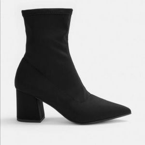 Missguided | Black Pointed Toe Sock Booties